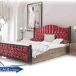 تخت خواب دو نفره فلزی کد 147 با نمای پارچه ای مازراتی
