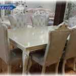 میز ناهار خوری شش نفره سلطنتی |سرویس ناهار خوری سلطنتی مدل نیلیا از نوع 6 و 8 نفره