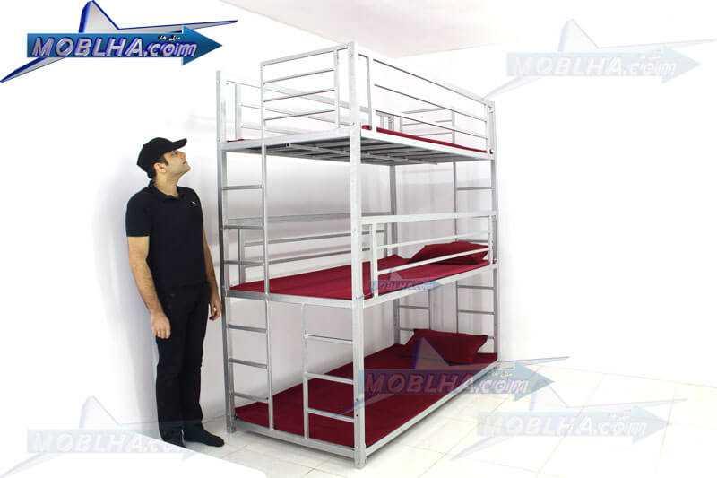 تخت خواب سه طبقه فلزی مدل 130 تایتان سیلور