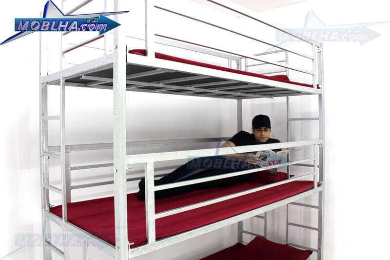 تخت خواب سه طبقه شیک و جادار مدل تایتان کد 130 سیلور