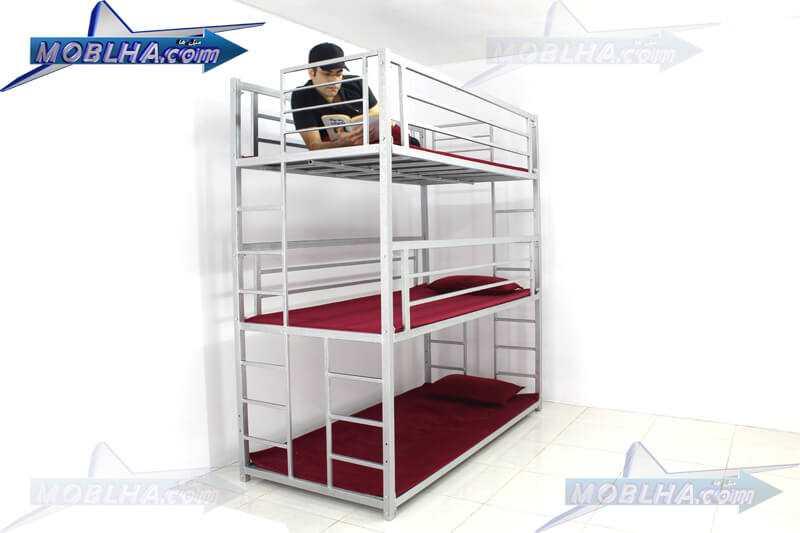 تخت خواب فلزی سه طبقه کد 130 سیلور