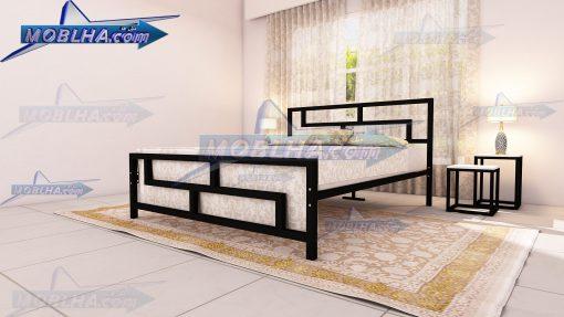 تخت خواب فلزی دو نفره طرح دار کد 118