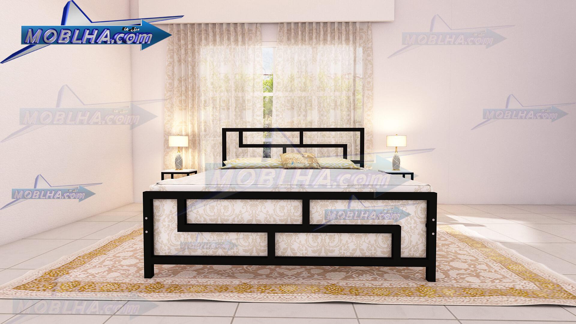 نمای روبرو از تخت خواب فلزی دو نفره طرح دار کد 118