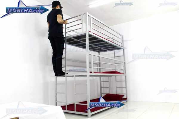 خرید تخت خواب فلزی سه طبقه کد 130 تایتان سیلور