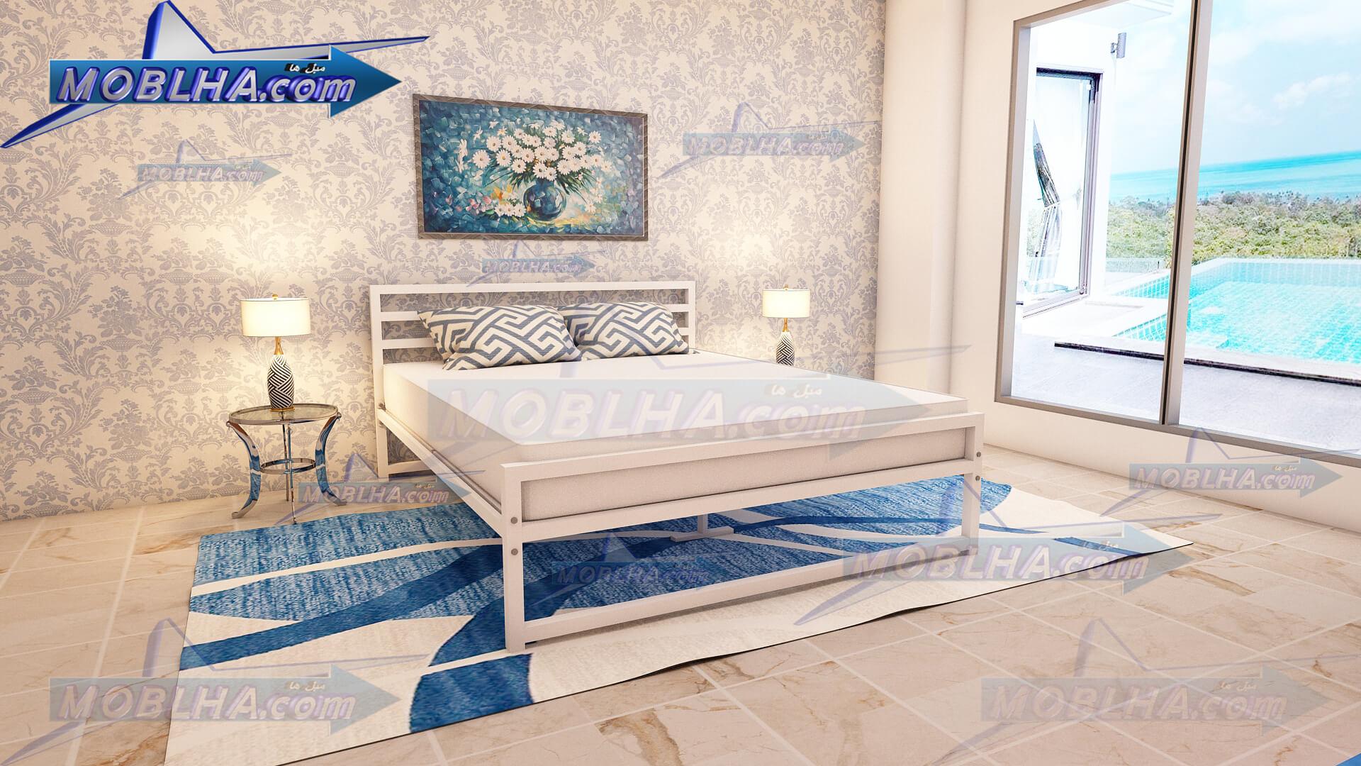 تخت خواب دو نفره سفید ساده کد 114