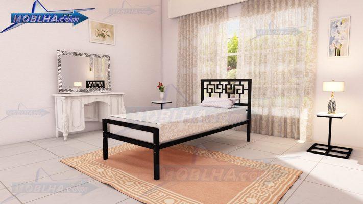 تخت خواب یک نفره به رنگ مشکی طرح مصری و یونانی کد 110