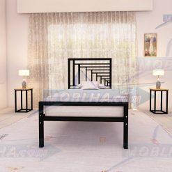 تخت خواب فلزی مشکی رنگ از نوع پرسپکتیو کد 161