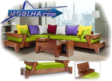 ترتیب ست مبل ماریا 3 + 2 + کنج + میز + سوفا ( سوفا در پایین تصویر قرار دارد )